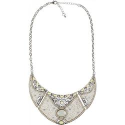 styleBREAKER Statementkette, Statement Halskette mit Perlen und Strass weiß