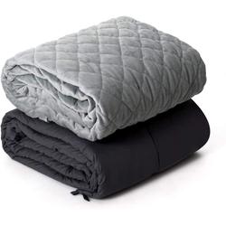 Gewichtsdecke, Gewichtete Deckemit Bezug, Baumwolle Gewichtete Decke, COSTWAY, 6,8kg grau
