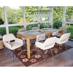 6x Esszimmerstuhl MCW-A50, Stuhl Küchenstuhl, Retro, Kunstleder ~ creme