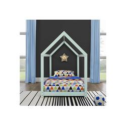 en.casa Kinderbett, Netstal Hausbett 90x200cm aus Kiefernholz mintgrün grün