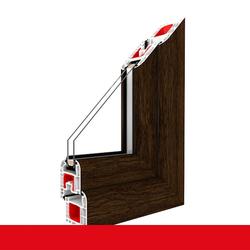 Kunststofffenster Dreh (ohne Kipp) Fenster Eiche Dunkel, Anschlag: DIN Links, BxH: 600x600 (60x60 cm), Glas: 2-Fach