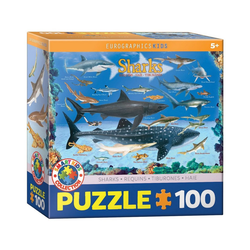 EUROGRAPHICS Puzzle Eurographics 6100-0079 Haie 100 Teile Puzzle, Puzzleteile bunt