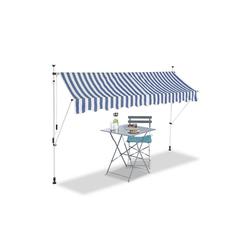 relaxdays Klemmmarkise Klemmmarkise blau weiß 300 cm x 120 cm x 300 cm
