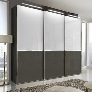 Design Schwebetürenschrank in Braun und Weiß 280 cm breit