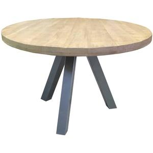 Esstisch 'Jaspal' rund Massivholz, Metall Mango