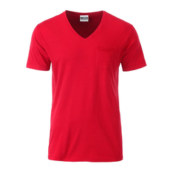 Herren Bio T-Shirt mit Brusttasche | James & Nicholson rot L