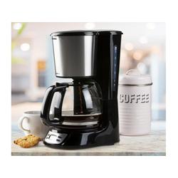 Domo Filterkaffeemaschine, Edelstahl mit 1,5 Liter Glaskanne 12 Tassen, Timer Zeitschaltuhr, Kaffeemaschine für Filter-Kaffee Pulver