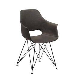 Armlehnstühle in Grau Kunstleder 40 cm Sitztiefe (2er Set)