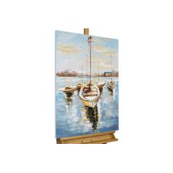 KUNSTLOFT Gemälde Hafenromantik, handgemaltes Bild auf Leinwand