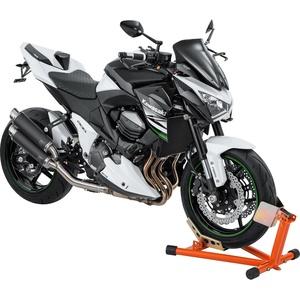 Hi-Q Tools Montageständer Motorrad Ständer Motorradheber Vorderradständer Wippe, einfaches Abstellen des Fahrzeuges, ideal für den Transport, fester Stand, Orange, einstellbar für fast alle Rad-/Reifengrößen