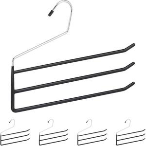 Relaxdays Hosenbügel mehrfach, 5er Set Mehrfachbügel, Metall, 3 Hosenstangen, offen, rutschfest, Hosen & Röcke, schwarz