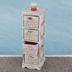 Regal Kommode mit 4 Korbschubladen 74x25x28cm, Shabby-Look, Shabby-Chic, Vintage ~ weiß