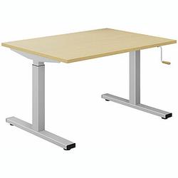 EXPERT Schreibtisch mit T-Fuß-Gestell und Kurbelantrieb, rechteckig, 80cm tief