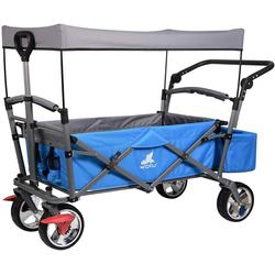 Woltu Bollerwagen, Handwagen mit Dach, 4 Rollen mit Bremse blau