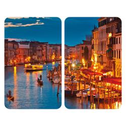 WENKO Universal Herdabdeckplatte, 30 x 52 cm, Herdabdeckung für Glaskeramik-, Elektro- und Gasherde, Muster: Venice by Night, 2 Platten