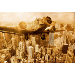 Fototapete Old Plane above Manhattan, glatt 3 m x 2,23 m