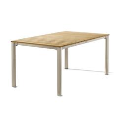 Sieger Gartentisch 165x95 cm Aluminium/Tischplatte Teak Champagner