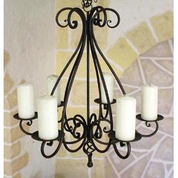 Ambiente Haus Kronleuchter Kronleuchter Antik 95230 Kerzenhalter H-60 cm Kerzenständer Hängeleuchter aus Metall Kerzen braun