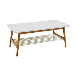 Barbara Mid-Century Modern Coffee Table with Lower Storage Rack Faux White Marble/Acorn - Saracina Home