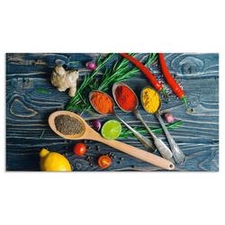 Artland Küchenrückwand Gewürze in Metalllöffeln, (1-tlg) 90 cm x 50 cm x 0,3 cm