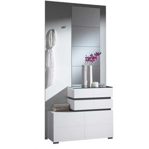 Kompaktgarderobe in Weiß Hochglanz Grau modern