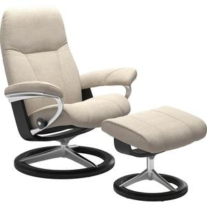 Stressless® Relaxsessel Consul (Set, Relaxsessel mit Hocker), mit Hocker, mit Signature Base, Größe L, Gestell Schwarz beige