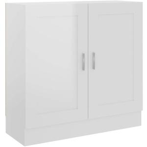 Tidyard Bücherschrank mit Fächern und Türen Büroschrank Aktenschrank Bücherregal Schrank Aktenregal Standregal Hochglanz-Weiß 82,5x30,5x80 cm Spanplatte