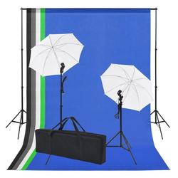 vidaXL Hintergrundtuch vidaXL Fotostudio-Set: 5 Bunte Hintergründe & 2 Schirme