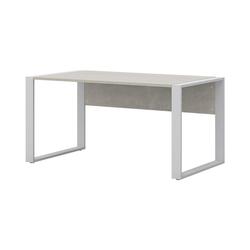 röhr Schreibtisch Direct Office 2, mit Klappe für Kabelmanagement und Kufengestell, ABS-Kanten weiß 150 cm x 74 cm x 80 cm