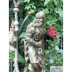 BAD-459 Gartenfigur Schachfigur Bauer 80cm Steinfigur Bogenschütze Figur schwarz-gold