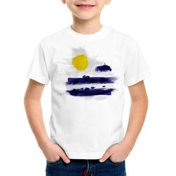 style3 Print-Shirt Kinder T-Shirt Flagge Uruguay Fußball Sport Flag WM EM Fahne weiß 116