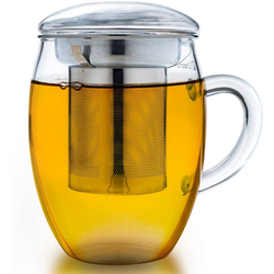 Creano Teeglas all-in-one (1-tlg), mit feinporigem Edelstahlsieb und Deckel, 400ml