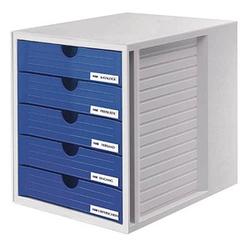 HAN Schubladenbox System-Box blau DIN C4 mit 5 Schubladen