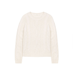 Pullover mit Zopfmuster off white