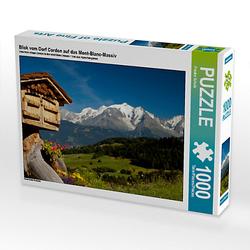 Blick vom Dorf Cordon auf das Mont-Blanc-Massiv Lege-Größe 64 x 48 cm Foto-Puzzle Bild von Frauke Scholz Puzzle