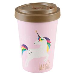 PFIFF Coffee-to-go-Becher Bambus-Becher TravelMug 'Pink Unicorn', recyclebar
