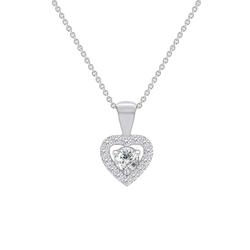 Elegante Halskette mit Diamanten-Herz im Halo-Stil Delma