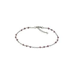 F Fusskette 925/- Sterling Silber Kristall pink 22cm Glänzend