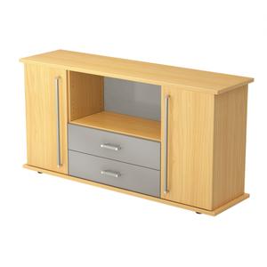 Hammerbacher Sideboard SB / 2 Türen und 2 Schubladen / Dekor: Buche / Griff: Chromgriff