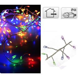 Silberdraht CLUSTER Lichterkette 240 LED BUNT - Drahtlichterkette 2,4m IP44 innen & außen