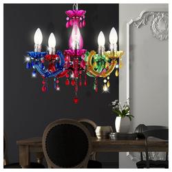etc-shop Kronleuchter, Hängeleuchte Hängelampe Kronleuchter Beleuchtung Lampe Leuchte 6311_Variante bunt