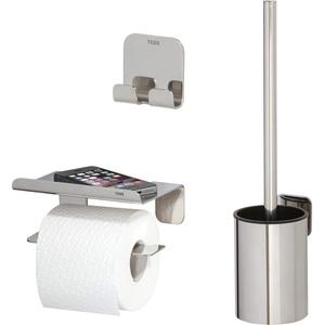 Tiger Colar Badaccessoire-Set, Edelstahl poliert, bestehend aus Toilettenpapierhalter mit Ablage, Haken und WC-Bürste, Montage ohne Bohren dank integrierter Klebefolie