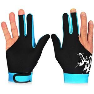 Mkiki 1 STK 3 Finger Snooker Billiard Handschuhe Atmungsaktiv Rechts Linke Hand Queue Sports - Himmelblau, Medium