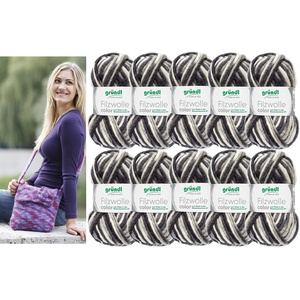 10x50 Gramm Gründl Filzwolle Color Wolle SB-Pack Wollset inkl. Anleitung/Rundstricknadel für Filztasche/Filz Tasche mit Blume + 2 Strasssteine (20 Schwarz Weiss)
