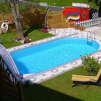 Pool Friends Stahlwandpool Set Styria oval 737 x 360 x 120 cm inkl. Sandfilteranlage