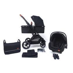 Pixini Kombi-Kinderwagen, Kinderwagen Lania 3 in 1 inkl. Autositz, Regenplane, Wickeltasche schwarz