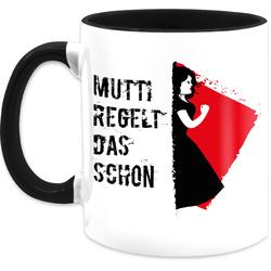 Shirtracer Tasse Mutti regelt das schon - Tasse mit Spruch - Tasse zweifarbig, Keramik