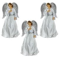 3er Set Vintage Engel Weihnachten Fensterbank Dekoration Krippen Figuren 23 cm