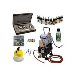 Airbrush-City Druckluftwerkzeug Modellbau Airbrush Set - Ultra Two in One + Sparmax TC-610H-n Kompressor - Kit 9006, (1-St)