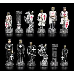 Figuren Shop GmbH Spiel, Schachfiguren Set - Kreuzritter Schwarz vs. Weiß - Schach Figuren